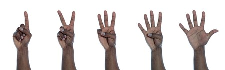 enumeration: A dark-skinned hand counting from one to five. All on white background.