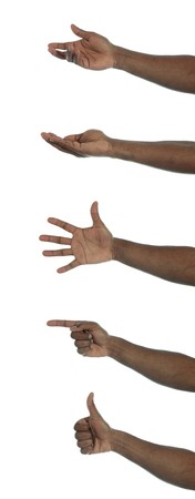 palm  hand: A dark-skinned human hand with several gestures. All on white background. Stock Photo