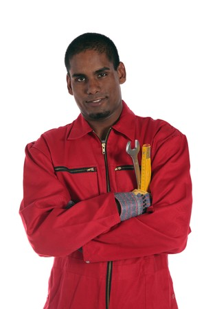 An ambitious dark-skinned worker. All on white background. Stock Photo - 7017018