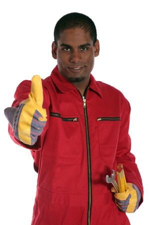 An ambitious dark-skinned worker making a positive gesture. All on white background. photo