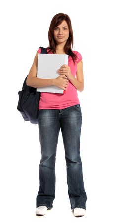 An attractive student standing in front of a plain white background.  Stock Photo - 7052967