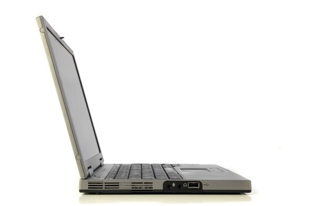 minicomputer: Side view of a standard notebook computer. All isolated on white background.