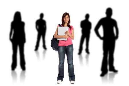 fresher: An attractive young student standing within several silhouettes of other persons. All on white background. Stock Photo
