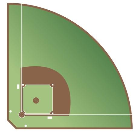 Una cancha de béisbol estilizada que muestra todas las líneas pertinentes. Todo sobre fondo blanco. Foto de archivo - 7143170