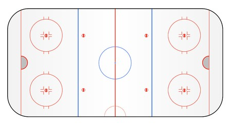 A stylized ice hockey ground showing all relevant lines. All on white background. photo