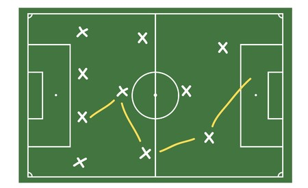 tactics: A stylized soccer ground with tactics. All on white background.