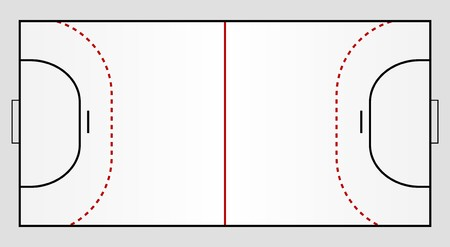 handball: A stylized handball ground showing all relevant lines.