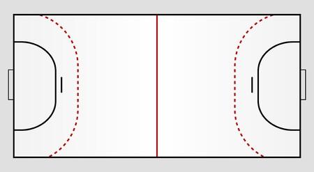 balonmano: Un terreno de balonmano estilizada que muestra todas las l�neas pertinentes.