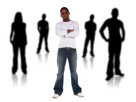 swarthy: An attractive young man standing among several black silhouettes. All isolated on white background. Stock Photo