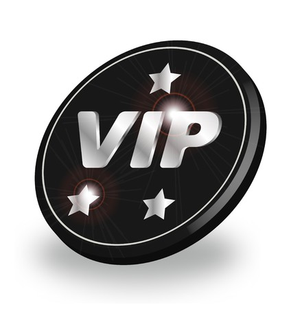 privileged: A stylized shiny VIP badge. All isolated on white background.