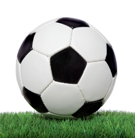 world ball: Soccer ball on green grass. All on white background. Stock Photo