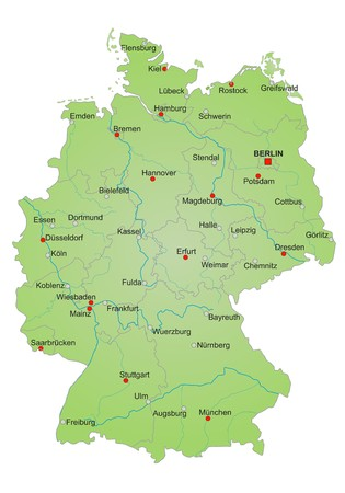 metropolis: Detailled map of Germany showing cities, rivers and all states. cities in german language Stock Photo