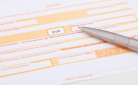 bank overschrijving: Standard bank transfer form