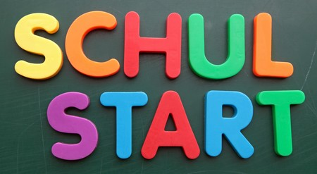 enrollment: German term for enrollment in colorful letters on a blackboard