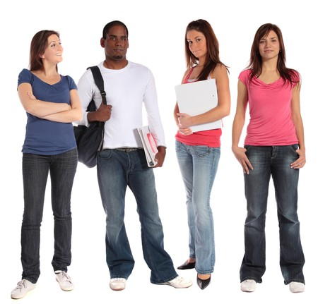 Group of four young persons standing next together. All on white background. photo