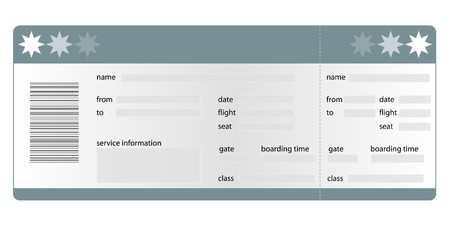 Stylized flight boarding pass. All on white background. Stock Photo