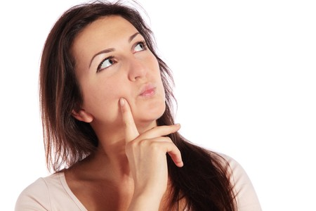 deliberate: Attractive young woman deliberates a decision. All on white background.