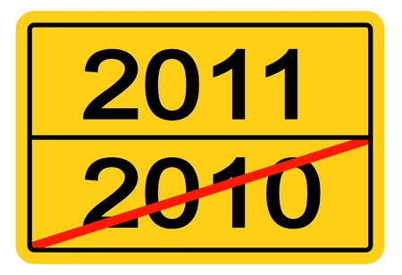 the turn of the year: Stylized city limit sign with a canceled year 2010 and the upcoming year 2011.  Stock Photo