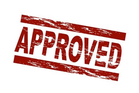 Stylized red stamp showing the term approved. All on white background. Stock Photo - 8565178