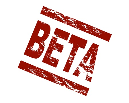 term: Stylized red stamp shwoing the term beta. All on white background. Stock Photo
