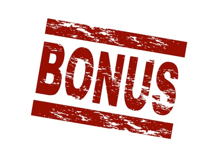 Stylized red stamp showing the term bonus. All on white background. Stock Photo - 8565173
