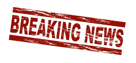 Stylized red stamp showing the term breaking news. All on white background.  Stock Photo