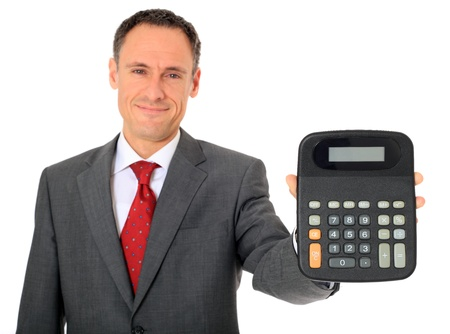 Attractive businessman holding calculator. All on white background.  photo