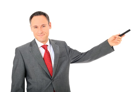 Attractive businessman during a presentation. All on white background.  photo