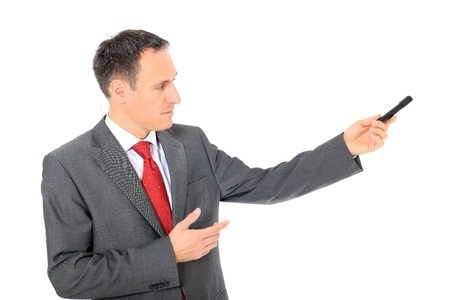 Attractive businessman during presentation. All on white background.  photo
