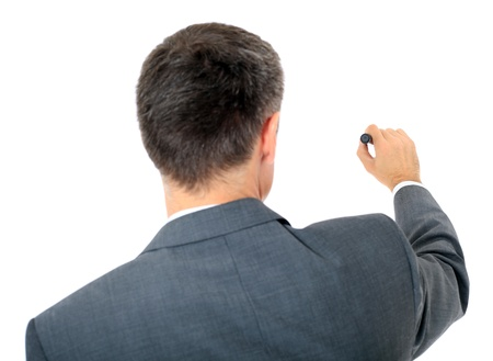 Back view of a businessman using marker. All on white background.  photo