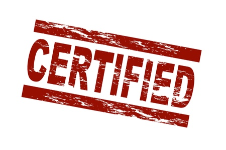 Stylized red stamp showing the term certified. All on white background.