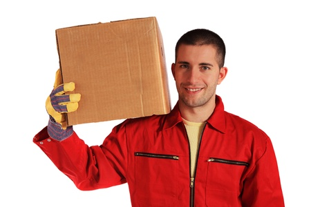 Motivated worker of an moving company in red overall. All on white background.  photo