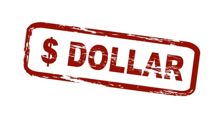 Stylized red stamp showinga dollar sign and the word dollar. All on white background. Stock Photo - 8720717
