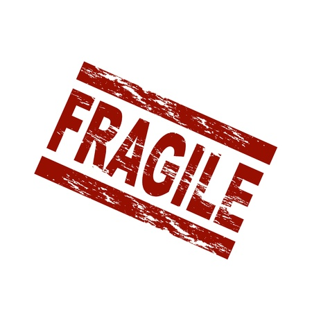 Stylized red stamp showing the term fragile. All on white background. Stock Photo - 8565177