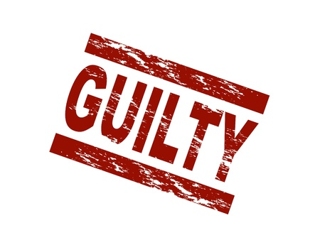 guilty: Stylized red stamp showing the term guilty. All on white background.
