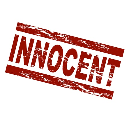 guiltless: Stylized red stamp showing the term innocent. All on white background.