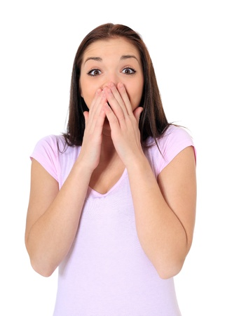 express feelings: Attractive teenage girl being surprised. All on white background.  Stock Photo