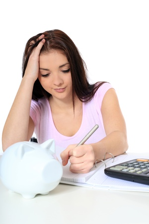 Attractive young woman being shocked of high tuition fees. All on white background.  Stock Photo - 8504821