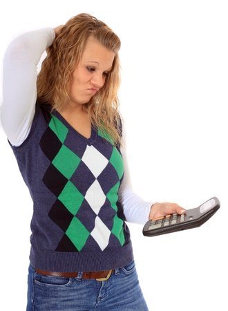 Frustrated woman using calculator. All on white background. Stock Photo - 8469948