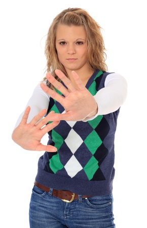 védekező: Attractive blonde woman with defensive gesture. All on white background.