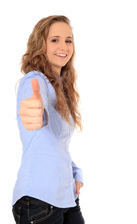 bonny: Attractive young girl making thumbs up sign. All on white background.