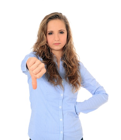 Attractive young girl making negative gesture. All on white background. Stock Photo - 8529873