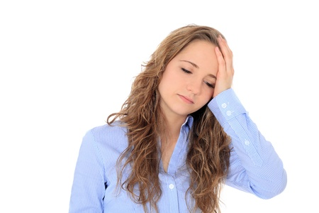 bonny: Attractive young girl suffering from headache. All on white background.