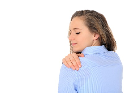 tenseness: Attractive young girl suffering from muscle tension. All on white background.  Stock Photo