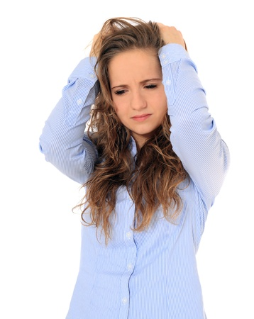 Frustrated young girl. All on white background. Stock Photo - 8529901