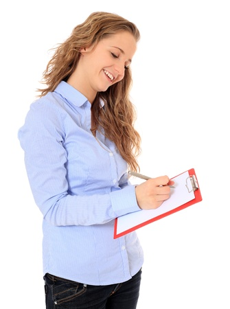 bonny: Portrait of an attractive young girl writing on a clipboard. All on white background.
