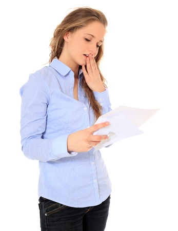 Portrait of an attractive young girl getting bad news. All on white background. Stock Photo - 8529869