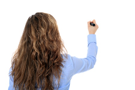 Back view of an attractive young girl using a marker. All on white background. Stock Photo - 8508464