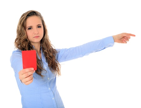 Portrait of an attractive young girl showing red card. All on white background.  Stock Photo - 8564998