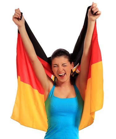 Attractive young woman cheering. All on white background  photo